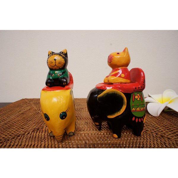 アジアン雑貨 バリ (ゾウ乗りネコちゃん) 置物 オブジェ オーナメント ネコ 猫 ねこ グッズ ゾウ 木製 エスニック|yayapapus-y|02