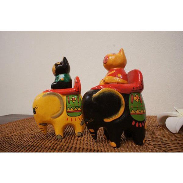 アジアン雑貨 バリ (ゾウ乗りネコちゃん) 置物 オブジェ オーナメント ネコ 猫 ねこ グッズ ゾウ 木製 エスニック|yayapapus-y|04