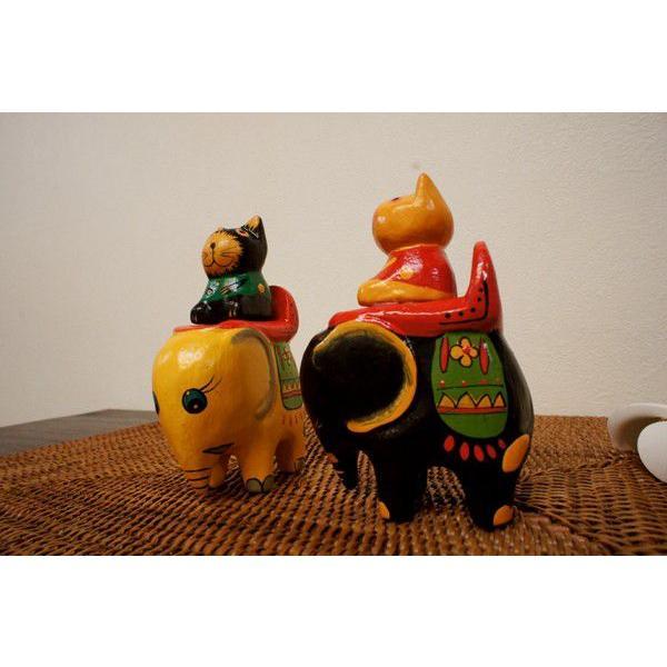 アジアン雑貨 バリ (ゾウ乗りネコちゃん) 置物 オブジェ オーナメント ネコ 猫 ねこ グッズ ゾウ 木製 エスニック|yayapapus-y|05