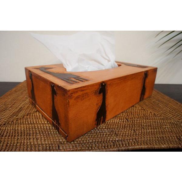 ティッシュボックス ティッシュケース ティッシュカバー 木製 アジアン雑貨 バリ ♪アニマル彫刻ティッシュBOX(キリン/ゾウ) ♪ インテリア雑貨 収納雑貨