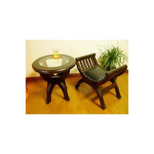 【9月下旬入荷予定】アジアン家具 バリ ♪CAラウンドガラステーブル&カルティニチェアS SET♪ サイドテーブル 丸 ガラス スツール チーク材 エスニック|yayapapus-y