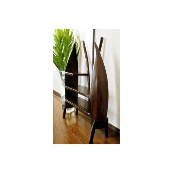 アジアン家具 バリ ♪チーク材とヤシリーフのナチュラルラック(M)♪ 収納家具 ラック 棚 ディスプレイラック 木製 チーク材 エスニック|yayapapus-y|02