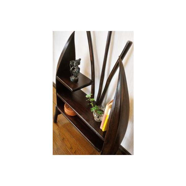 アジアン家具 バリ ♪チーク材とヤシリーフのナチュラルラック(M)♪ 収納家具 ラック 棚 ディスプレイラック 木製 チーク材 エスニック|yayapapus-y|03
