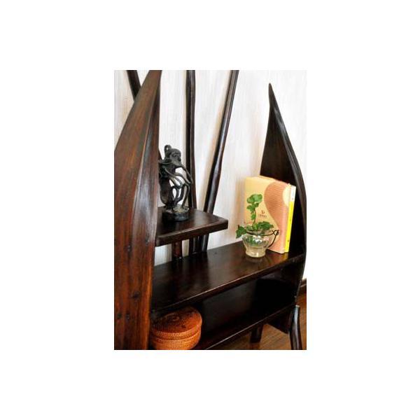 アジアン家具 バリ ♪チーク材とヤシリーフのナチュラルラック(M)♪ 収納家具 ラック 棚 ディスプレイラック 木製 チーク材 エスニック|yayapapus-y|04