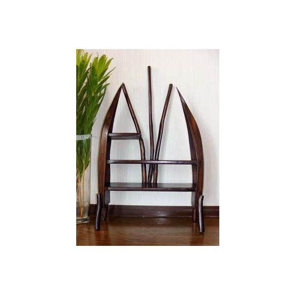 アジアン家具 バリ ♪チーク材とヤシリーフのナチュラルラック(M)♪ 収納家具 ラック 棚 ディスプレイラック 木製 チーク材 エスニック|yayapapus-y|05