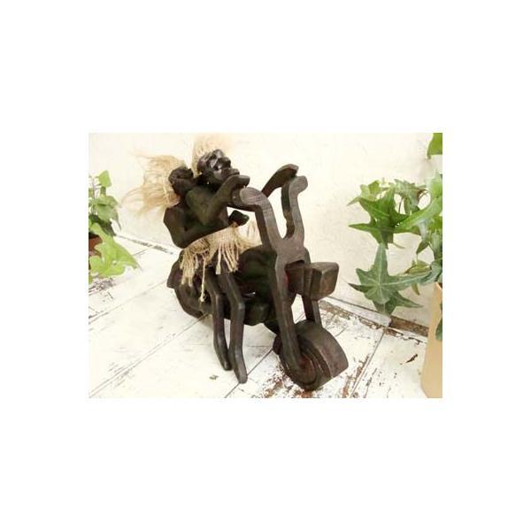 置物 インテリア 雑貨 おしゃれ (原人ハーレー) アジアン雑貨 バリ 置き物 オブジェ 木製 エスニック|yayapapus-y|02