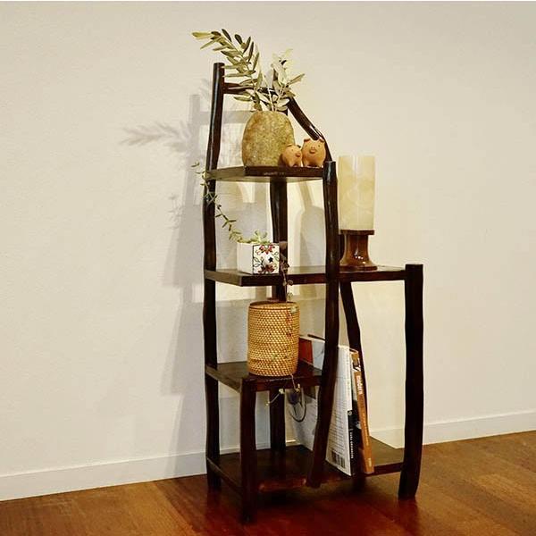 チークの根のナチュラルラック(ダーク)♪ アジアン家具 棚 飾り棚 収納棚 木製 チーク材 エスニック|yayapapus-y