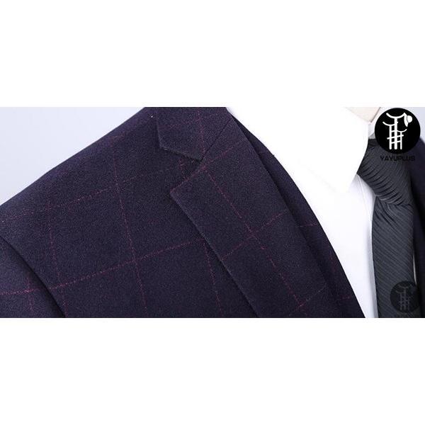 メンズ スーツ 上下セット 2つボタン セットアップ テーラード チェック柄 ジャケット パンツ スラックス フォーマル セレモニー 紳士服 出張 yayushop 05