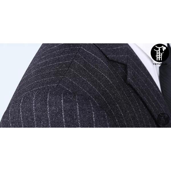 メンズ スーツ 上下セット 2つボタン ストライプ 紳士服 ジャケット パンツ スラックス セットアップ テーラード フォーマル セレモニー 出張 就活|yayushop|05