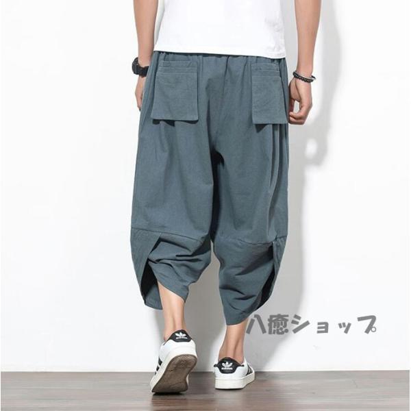 ワイドパンツ メンズ サルエルパンツ 無地 綿麻風 カジュアル メンズズボン ガウチョパンツ 9分丈 ゆったり 代引不可|yayushop|10
