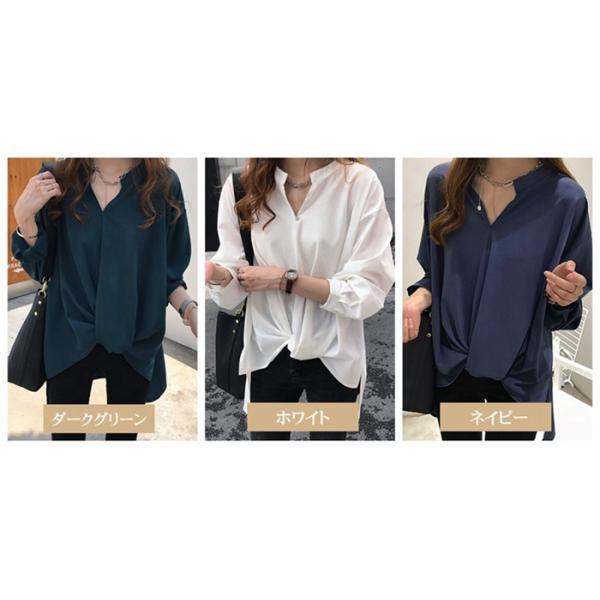 ブラウス レディース シャツ トップス 母の日 5種類 Vネック 長袖シャツ 新作 春夏 代引不可 一部分当日発送|yayushop|02