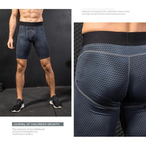 スポーツタイツ コンプレッションウェア タイツ メンズ スポーツウェア 吸汗速乾 ランニングタイツ ショートパンツ 着圧 代引不可|yayushop|02