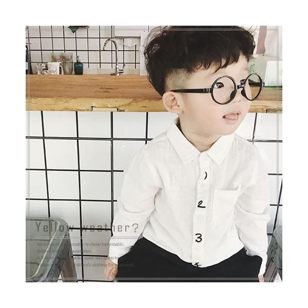 キッズ シャツ 白 紺 フォーマル 男の子 女の子 ユニセックス 子供服 メール便180円可 yellowweather
