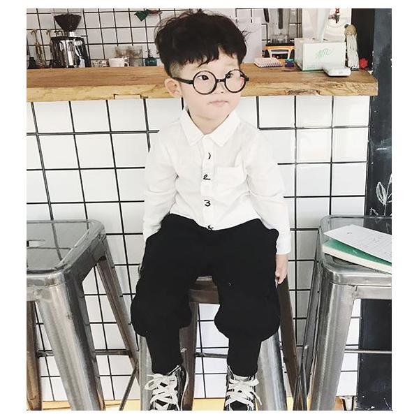 キッズ シャツ 白 紺 フォーマル 男の子 女の子 ユニセックス 子供服 メール便180円可|yellowweather|02