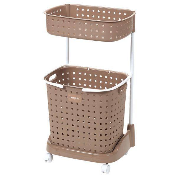ランドリーワゴン レクエア ランドリーバスケット2段 ブラウン LQ-2 | 洗濯かご 洗濯物入れ 洗濯カゴ