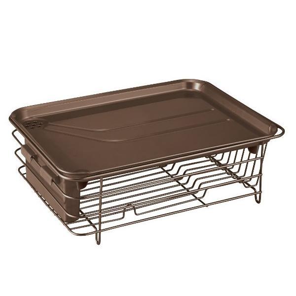 水切りかご Nポゼ 水が流れるトレー付き 縦横兼用 Wコート 水切り ブラウン|yh-beans|02