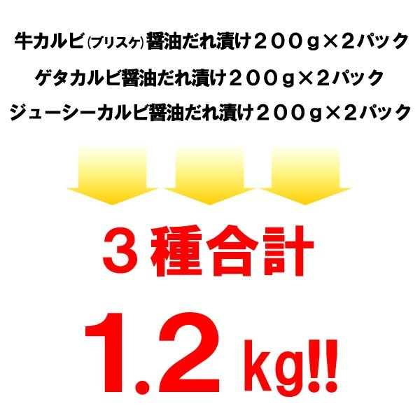 焼肉セット バーベキュー  肉 カルビ三昧 カルビ3種盛り 3-4人前 計1.2kg 送料無料 BBQ|yhjonetsu|06