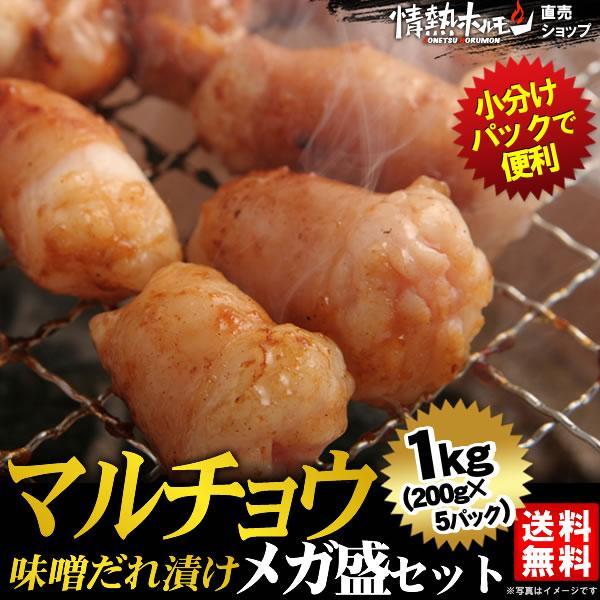 焼き肉 焼肉 セット 肉 バーベキューセット マルチョウ 味噌だれ漬けメガ盛セット 1kg BBQ 焼き肉