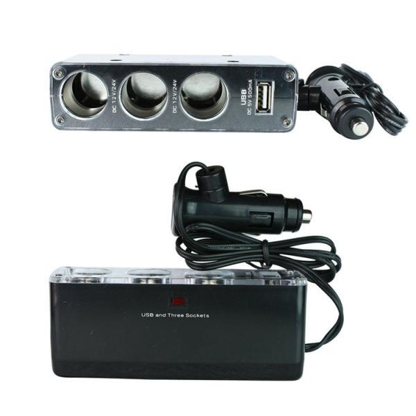 シガーソケット チャージ 3連 分配器 変換器 アダプター USB 充電 スマホ 車載 ブラック 送料無料 12/24V|yiyi|02