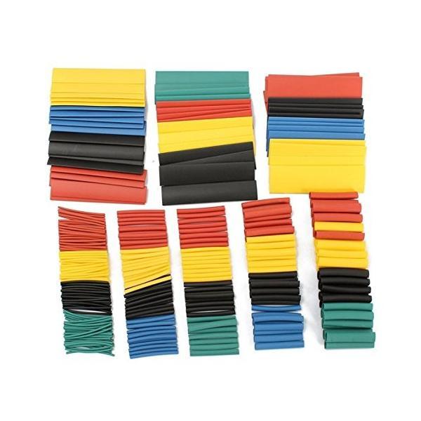 送料無料 熱収縮チューブ 絶縁チューブ 防水 高難燃性 チューブ シュリンクチューブ 5色 8サイズ 328ピースセット|yiyi