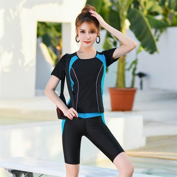 競泳用 水着 レディース 体型カバー 練習用 売れ筋 フィットネス水着 女性用 女の子 2点セット 海水パンツ ポイント消化|ymart0417|04
