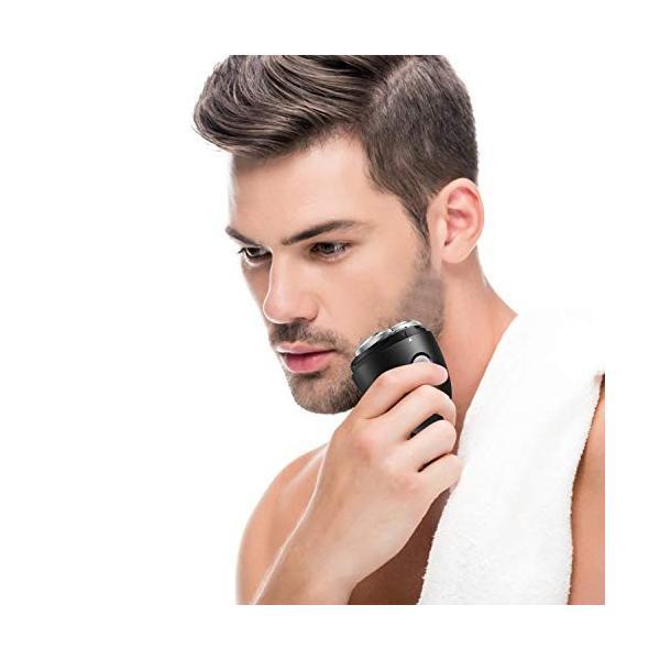 メンズ電気シェーバー ひげそり 電動かみそり 男性用 回転式 USB充電 水洗い可 コンパクト 旅行用?家庭用 ブラック yodoya 02