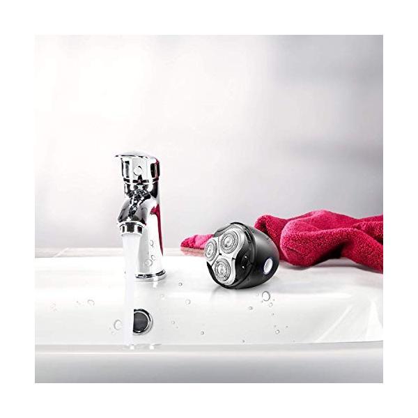 メンズ電気シェーバー ひげそり 電動かみそり 男性用 回転式 USB充電 水洗い可 コンパクト 旅行用?家庭用 ブラック yodoya 04