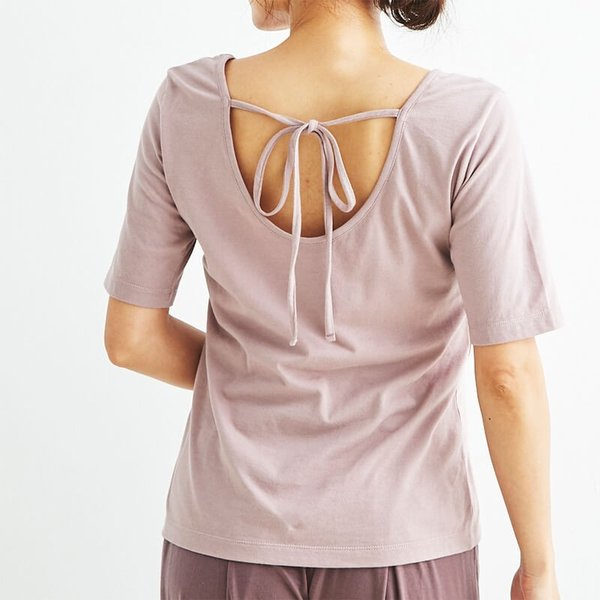 ヨギーサンクチュアリ ヨガウェア トップス オープンバックタイTシャツ yoggy sanctuary|yoga-pi|05