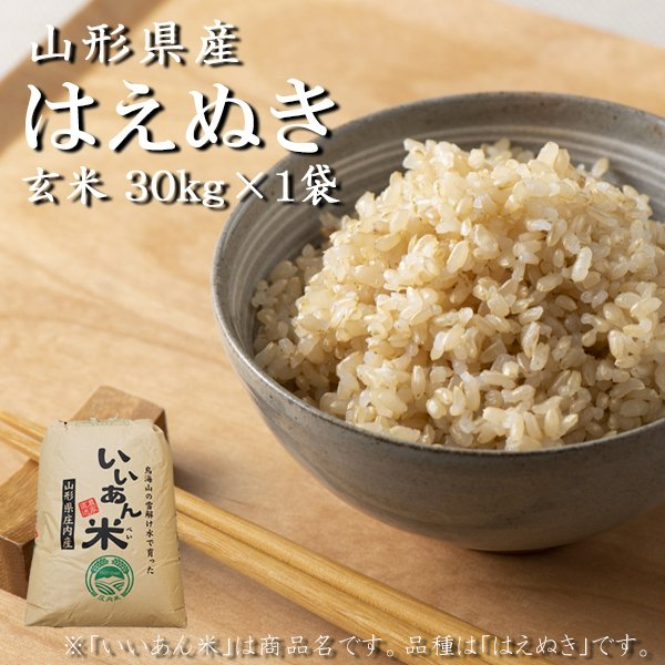 お米 30kg 玄米 はえぬき 新米予約 令和3年産 山形 庄内