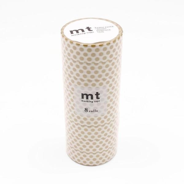mt マスキングテープ 8P ドット・金 MT08D365