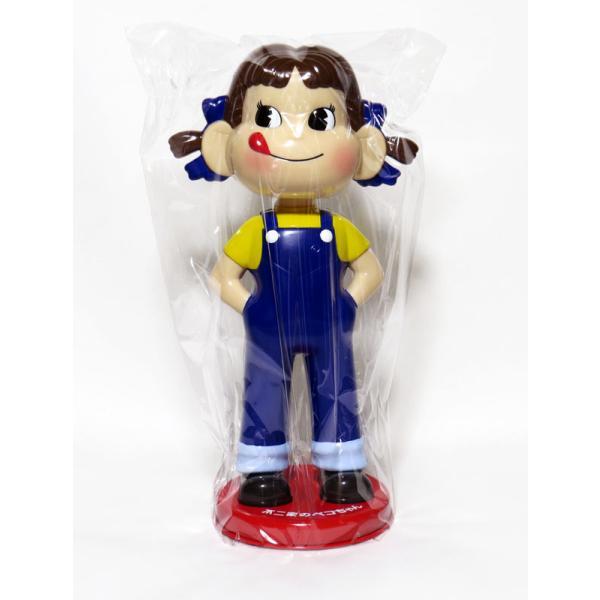 不二家ペコちゃん 首振り人形 青のオーバーオール(赤い台)懸賞当選品