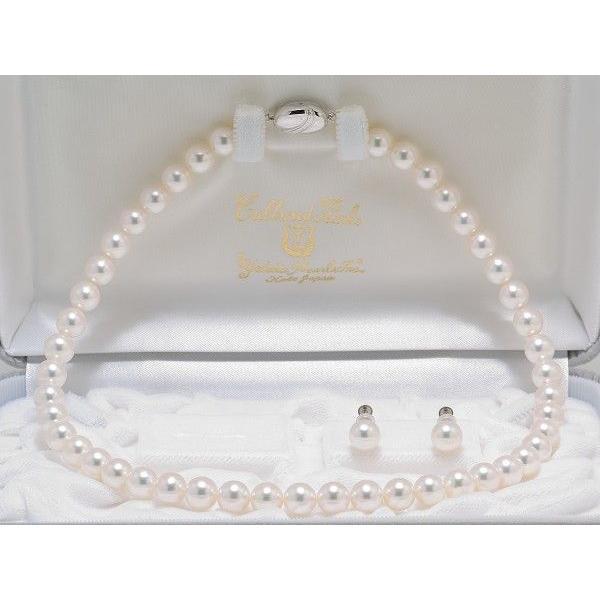 あこや真珠8.5mm〜9.0mmネックレス&8.6mmイヤリングまたはピアス2点セット オーロラ天女鑑別書付き|yokota-pearl