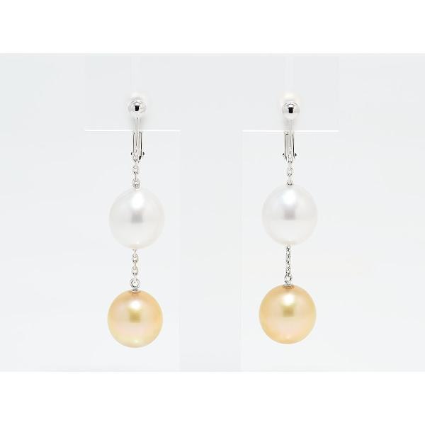 11mmUP 南洋真珠 白蝶真珠 マルチカラー イヤリング シルバーホワイト&ゴールド|yokota-pearl