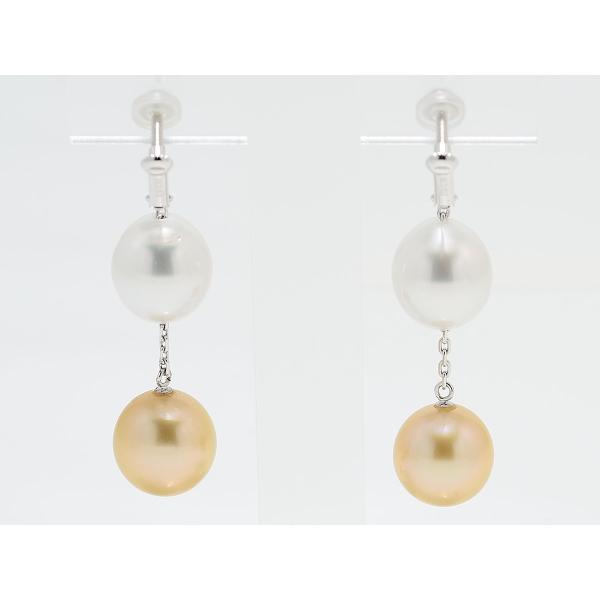 11mmUP 南洋真珠 白蝶真珠 マルチカラー イヤリング シルバーホワイト&ゴールド|yokota-pearl|02