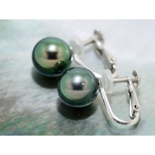 9mmUP 黒真珠 イヤリング ピアス 黒蝶真珠 ピーコックグリーン|yokota-pearl