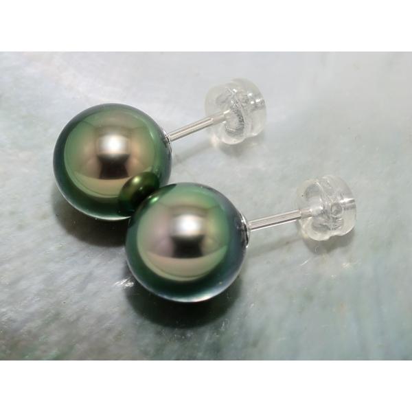 黒蝶真珠 黒真珠 ピアス 10mm ピーコックグリーン|yokota-pearl