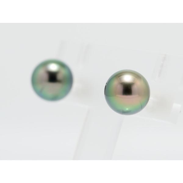 黒蝶真珠 黒真珠 ピアス 10mm ピーコックグリーン|yokota-pearl|03