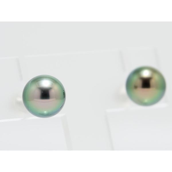 黒蝶真珠 黒真珠 ピアス 10mm ピーコックグリーン|yokota-pearl|04