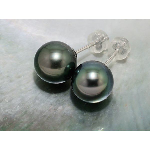 黒蝶真珠 黒真珠 ピアス 10mm ダークグリーン|yokota-pearl