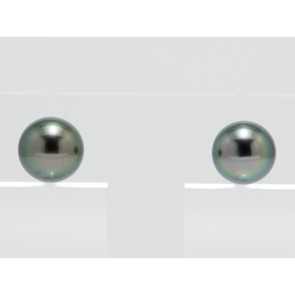 黒蝶真珠 黒真珠 ピアス 10mm ダークグリーン|yokota-pearl|02
