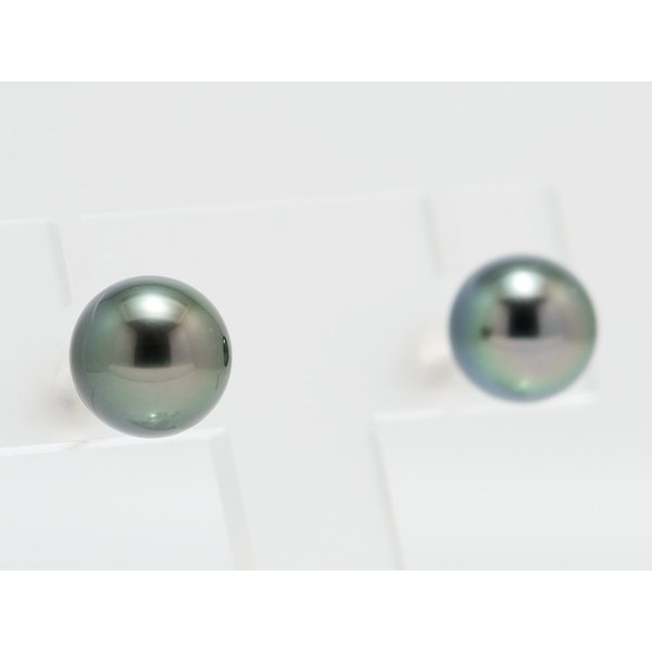 黒蝶真珠 黒真珠 ピアス 10mm ダークグリーン|yokota-pearl|03