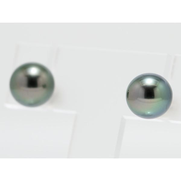黒蝶真珠 黒真珠 ピアス 10mm ダークグリーン|yokota-pearl|04