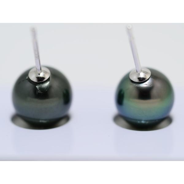 黒蝶真珠 黒真珠 ピアス 10mm ダークグリーン|yokota-pearl|05