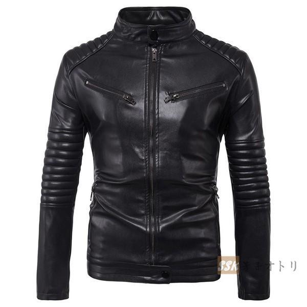 バイクジャケット ジャケット メンズ 立ち襟 バイクウェア 革ジャン ライダースジャケット 防風 防寒 おしゃれ|yoshikootory