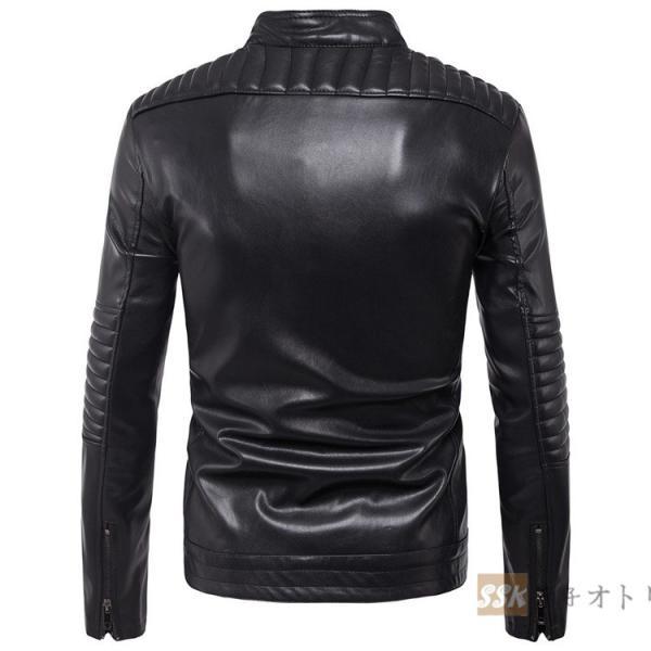 バイクジャケット ジャケット メンズ 立ち襟 バイクウェア 革ジャン ライダースジャケット 防風 防寒 おしゃれ|yoshikootory|03