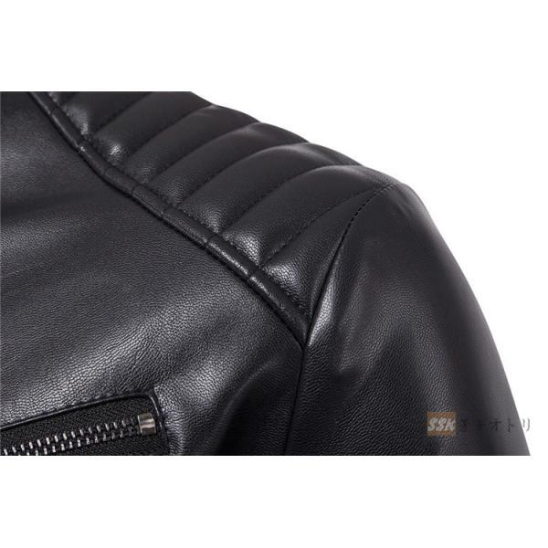 バイクジャケット ジャケット メンズ 立ち襟 バイクウェア 革ジャン ライダースジャケット 防風 防寒 おしゃれ|yoshikootory|06