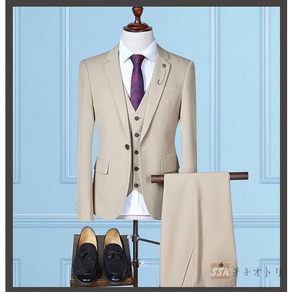 784442cfb4dc2 ... スリーピーススーツ メンズスーツ フォーマルスーツ リクルート 3ピース スーツ 1つボタン スリム 紳士服 ...