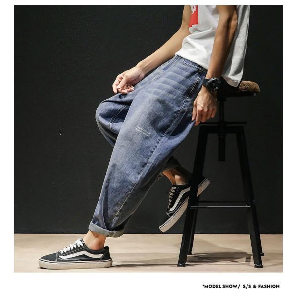 デニムパンツ メンズ ワイド ゆったり 涼しいズボン ボトムス イージーパンツ デニム ジーパン メンズファッション yoshikootory 03