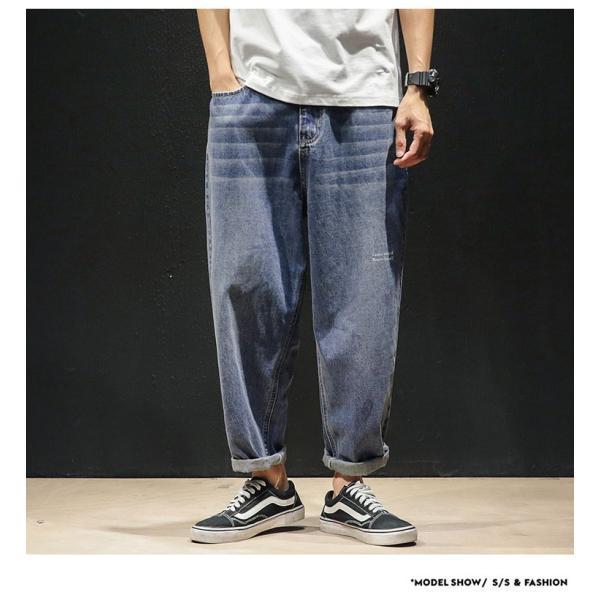 デニムパンツ メンズ ワイド ゆったり 涼しいズボン ボトムス イージーパンツ デニム ジーパン メンズファッション yoshikootory 04