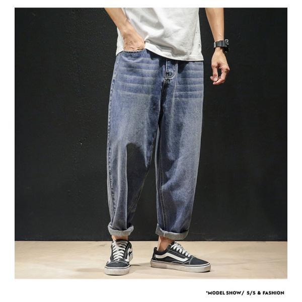 デニムパンツ メンズ ワイド ゆったり 涼しいズボン ボトムス イージーパンツ デニム ジーパン メンズファッション yoshikootory 05